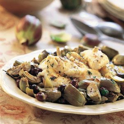 Monkfish with Olives and Artichokes (Lotte de Mer aux Olives et Artichauts)