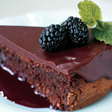 Dark Chocolate Torte with Spiked Blackberry Coulis