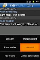 Screenshot of SMSVault Lite