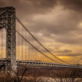 George Washington Bridge by Linda Karlin - Buildings & Architecture Bridges & Suspended Structures ( architecture, bridges )