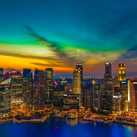 Singapore Skyline by Anurag Banerjee - City,  Street & Park  Skylines ( skyline, cit yscape, sunset, marina bay sands, marina, evening, singapore )