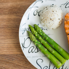 Salmon dinner by The Newborn Studio Sussex - Food & Drink Plated Food ( salmon and rice, rice, fish dinner, healthy eating, asparagus, salmon, healthy food )