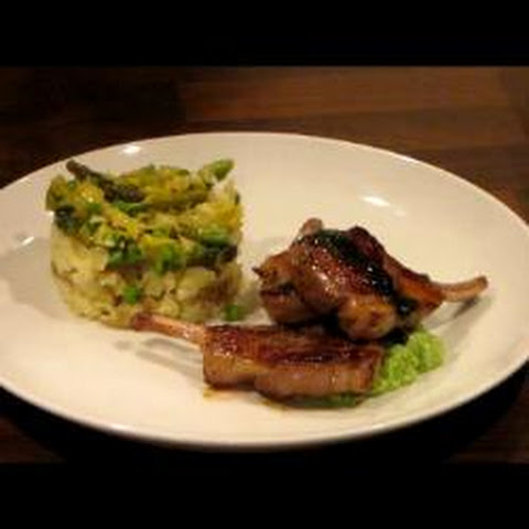 Lamb Cutlets With Minted Pea Puree, Vegetable Medley And Crushed Potatoes