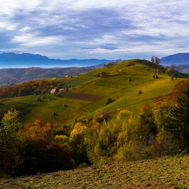 piece of heaven by Constantin Hurghea - Landscapes Mountains & Hills ( clouds, hills, tree, autumn, cloud, trees, romania, holbav, fields, brasov, colours )
