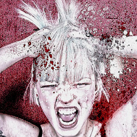 Having A Bad Day by Mark Dobson - Digital Art People ( photoshop art, model, paint splat, portrait )