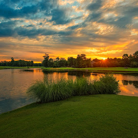 First Light at Providence by Dave Sansom - Landscapes Sunsets & Sunrises ( 'private golf club', 'north carolina', 'providence country club', architecture, landscape, usa, 'dave sansom', 'professional golf course photography', dawn, 'early morning', 'professional golf course photographer', 'golf course', golf, charlotte, sunrise )