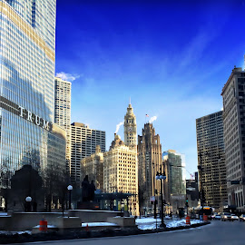 Chicago - Wacker Drive by Tricia Scott - City,  Street & Park  Skylines ( illinois, cars, wacker, street, buildings, chicago, archiecture, city, trump tower )