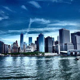 Downtown Manhattan from the Staten Island Ferry. by Darren Harrison - City,  Street & Park  Skylines