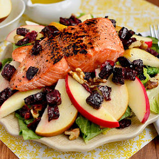 Autumn Salmon Salad with Honey-Apple Cider Vinaigrette