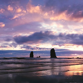 by Ty Wolf - Landscapes Sunsets & Sunrises ( sunset, oregon coast, beach, rocks )
