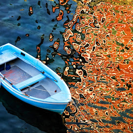 Boat in the port of Riomaggiore by Tomas Vocelka - Abstract Patterns ( port, abstract, cinque terre, reflection, patterns, sea, reflections, tourism, travel, boat, riomagiorre, mediterranean, summer )