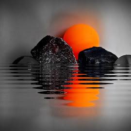 Sunrise by Prasanta Das - Digital Art Abstract ( abstract, lake, sunrise )