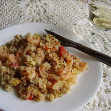 Greek Rice and Shrimp Bake With Feta Crumb Topping