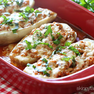 Baked Eggplant Parmesan Boats with Sausage
