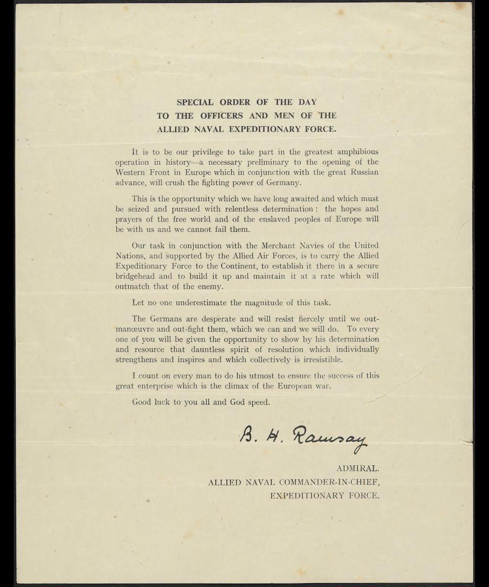 Message from Admiral Sir Bertram Ramsay