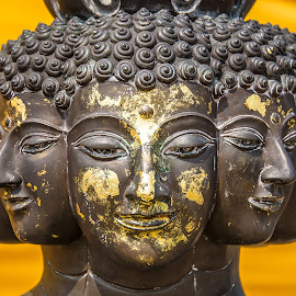 9 faces of Buddha by Craig Bennett - Buildings & Architecture Statues & Monuments ( detail, carving, leaf, buddha, bangkok, temple, bronze, religion, statue, orient, head shot, sunny, asia, gold, golden mountain )