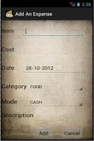 Screenshot of Expenses Lite
