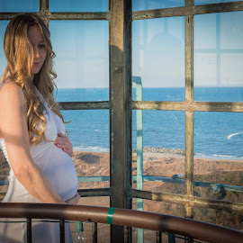 Lighthouse Maternity  by Dean Tunberg - People Maternity ( maternity, model, sunset, lighthouse, baby boy, mom )