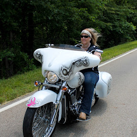 survivor  by Brooke Beauregard - Transportation Motorcycles ( breast cancer, biker, survivor, motorcycle, cancer, bikers for tatas )