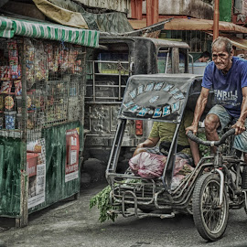 Push Hard by Ariel Ladrido - Transportation Bicycles ( street, people, man, bicycle )