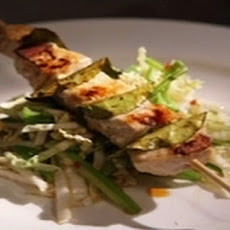 Swordfish skewers with Asian coleslaw