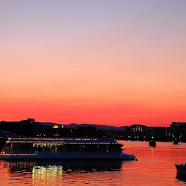 Sunset by Water Front, Victoria, BC, Canada by Mrinal Das - Landscapes Travel ( water, canada, crimson, sunset, pacific, ocean, victoria, boat, landscape, british columbia )