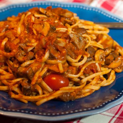 Linguine with Wild Mushroom, Tomato and Eggplant Sauce