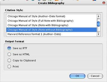 Zotero creating bibliopgraphy