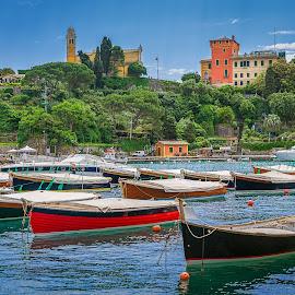 Boats of Portofino by Izzy Kapetanovic - Transportation Boats ( hill, harbor, church, green, boats, trees, castle, portofino, italy )