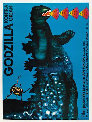 Godzilla vs. Gigan (Chikyû kogeki meirei: Gojira tai Gaigan, aka Godzilla on Monster Island) (1972, Japan) Polish poster