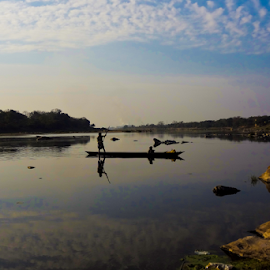 Subarnarekha - The Golden River by Arin Paul - Landscapes Travel ( golden river, jharkhand, boatman, ghatsila, india, boat, subarnarekha, river )