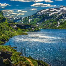 Adventurous by Johannes Mikkelsen - Landscapes Mountains & Hills ( adventurous, hills, mountain, rails, hordaland, road, fjord, norway, fantasy, wow, adventure, mountains, subway, sky, awesome, snow, path, train, norge, water, photomatix, hdr, heaven, dream, art, sea, lake, rivers, amazing, magic, artistic )