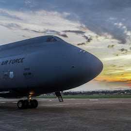 Galaxy C-5 and The Sunset by Jose Huaynatti - Transportation Airplanes