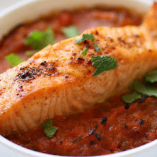 Stoplight Piperade with Spicy Broiled Salmon