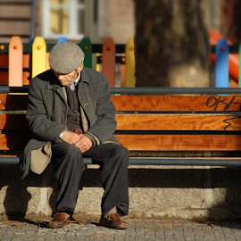 Loneliness by Antonio Amen - People Street & Candids ( bench, loneliness, men )