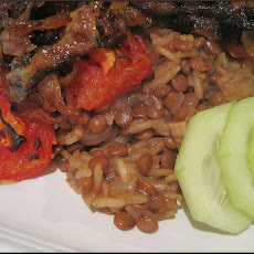 Lebanese Lentil/Rice Pilaf With Blackened Onions