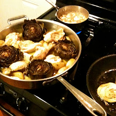Roasted Artichokes, Potatoes & Chicken
