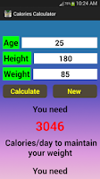 Screenshot of Calories Calculator