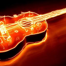 by Harish Khanna - Abstract Light Painting ( music, wood, guitar, yellow, light )
