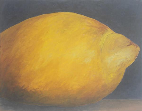 Lemon <br> Acrylic paint, pencil on canvas <br> 22 x 28 in