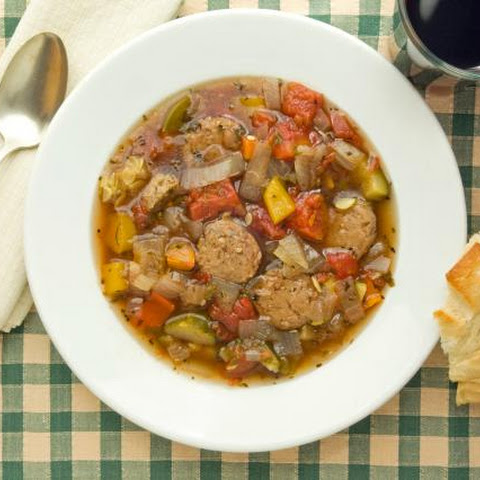 Tuscany Peasant Soup with Italian Sausage and Zucchini