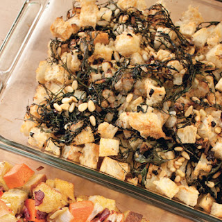 Rustic Bread Stuffing with Red Mustard Greens, Currants, and Pine Nuts