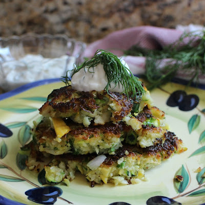 Kohlrabi and Summer Squash Fritters with Yogurt-Dill Sauce