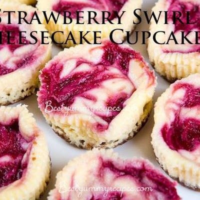 Strawberry Swirl Cheesecake Cupcakes