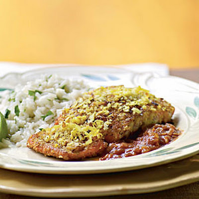 Coconut-Crusted Salmon with Tamarind Barbecue Sauce