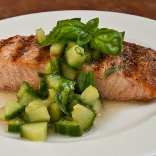 Grilled Salmon with Thai Cucumber Basil Salad