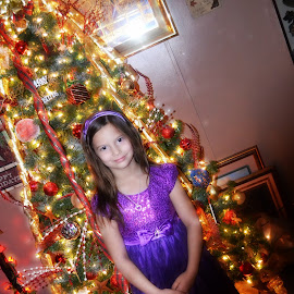 My Gal by Linda Blevins - Babies & Children Child Portraits ( child, girl, tree, christmas )