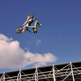 biker by Claude Huguenin - Sports & Fitness Motorsports ( motorbike, crazy, biker, air, airshow )