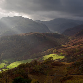 Borrowdale from Castle Crag by Jeremy Lintott - Landscapes Mountains & Hills ( clouds, ray, cumbria, crepuscular, borrowdale, storm, landscape, light, lake district, fields, castle crag )