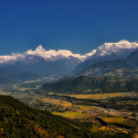 The valley by Phil Robson - Landscapes Mountains & Hills ( snowy peaks, pokhara, mountains, valley, nepal )